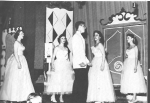 Ed Pawel sings to Mary Alice Wylie, Bev Burner, Dot Amento and Alice-Jane Wedlake at Valley Varieties 1955.