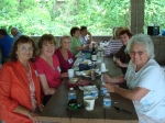 Carol Winschuh Brown, Barbara Winkler Ward, Ruth Wells Stephens, Dot Fontana and Donna Stokes DeGrechie indulge in some